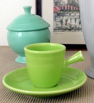 Fiesta Demitasse Cup and Saucer Stick Handle
