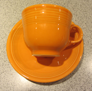 Tangerine Cup and Saucer