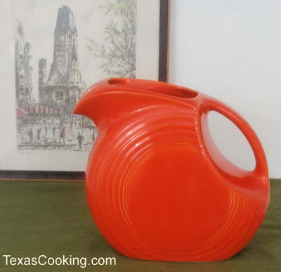Vintage Red Disc Pitcher