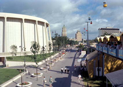 United States Pavilion and Downtown San Antonio from Hemisfair '68