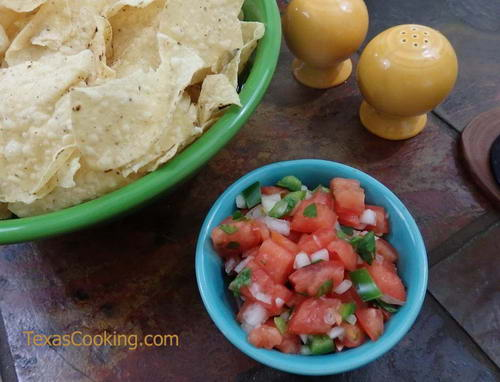 Fresh pico de gallo and tortilla chips