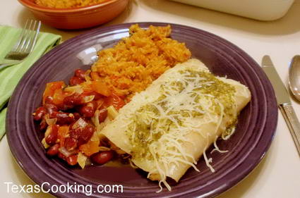 Healthy chicken enchilada dinner